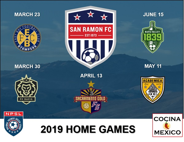 San Ramon FC NPSL Home Game Schedule